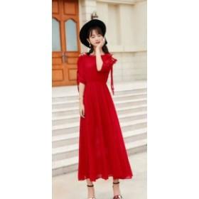 シフォンスカートドレス