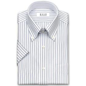 ワイシャツ - ワイシャツの山喜 ELLE HOMME 半袖 ワイシャツ メンズ 春夏秋 形態安定 吸水速乾ネイビーとブラックのトリプルストライプボタンダウンシャツ綿 ポリエステル ホワイト ドレスシャツ Yシャツビジネスシャツ(zen541-455)