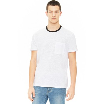 Tシャツ - FOREVER 21【MEN】 【コントラストクルーネックTシャツ】無地 シンプル 白 ホワイト 紺 ネイビー XS S M L 半袖tシャツ