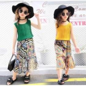 女の子 セットアップ キッズ ボヘミア風 Tシャツ 花柄シフォン スカート 2点セット ジュニア 可愛い 子ども 夏新作