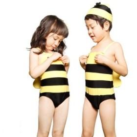 子供水着 男の子 女の子通用 アニマル柄 帽子付き 連体式水着 子ども 男児 幼児 キッズ水着 ジュニア ボーイ ハチ 蜂 ミツバチ DM便
