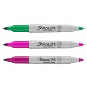 【並行輸入品】Sharpie シャーピー ツインチップ 油性マーカー 中字/極細字 グリーン/ピンク/パープル