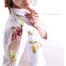 シャツ - GOLDJAPAN 大きいサイズ専門店 大胆な花柄と程よい透け感を楽しむシースルー袖、花柄プリントフレアシャツ 大きいサイズ レディース トップス フレアシャツ 白シャツ花柄ブラウス ロング丈 七分袖 7分袖 袖コンシャス 春夏 春 夏 LL 2L 3L 4L 5L