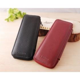 プラチナ PLATINUM ペンケース 牛革 ファスナー式ポケット付 3本差込式 ワインレッド/ブラック PLA-HPLS-3600