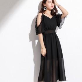 シフォン ロング ワンピース ドレス パーティ リゾート 二次会 きれいめ 20代 30代40代 大きい お呼ばれ キャバワンピ 韓国