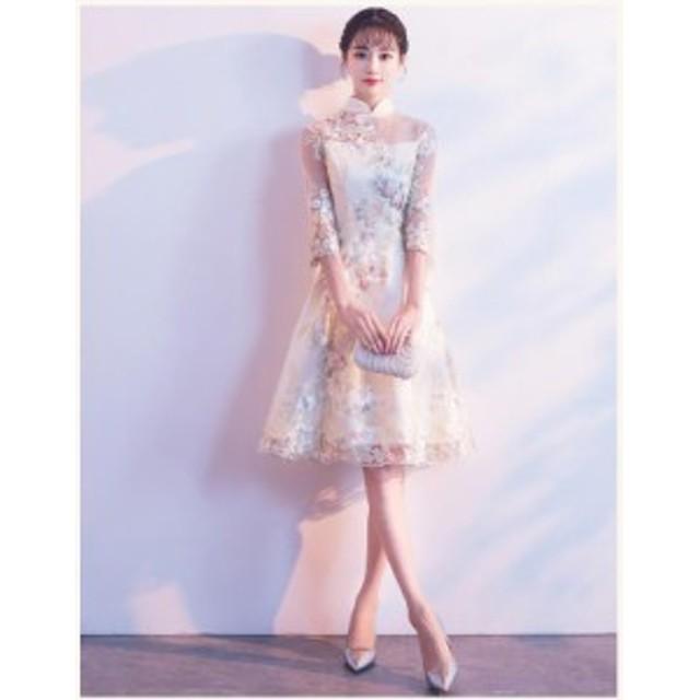 パーティースタンドドレス 10代 20代 30代 ワンピース おしゃれ フォーマル お呼ばれ 花柄 刺繍 シースルー デザイン ミニ カラードレス
