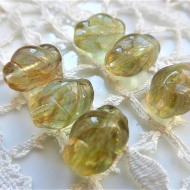 ヴィンテージチェコビーズVintege Czech Glass Beads草色マーブル6個