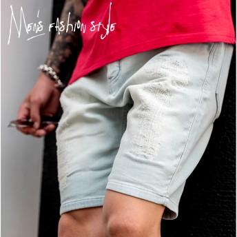 ハーフパンツ - JOKER ハーフパンツ メンズ ショーツ ショートパンツ スウェットパンツ デニムパンツ クラッシュ ダメージ デニム スウェット カットデニムダメージデニム ネイビー 夏 夏服 夏物 メンズファッション サーフ系 お兄系 オラオラ系 BITTER ビター系