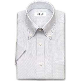 ワイシャツ - ワイシャツの山喜 ELLE HOMME 半袖 ワイシャツ メンズ 春夏秋 形態安定 吸水速乾 グレードビーチェック ボタンダウンシャツ綿ポリエステルグレー ドレスシャツ Yシャツ ビジネスシャツ(zen541-480)