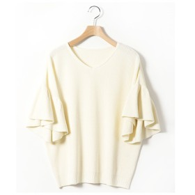 ニット・セーター - Select Shop Candy ボリュームスリーブ 無地 ざっくりニット 綿100% コットンニット トップス 袖ボリューム プルオーバー レディース