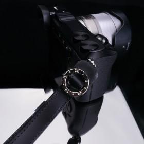 GARIZ コンパクトデジタルカメラ用 本革リスト&フィンガーストラップ XS-WFSN1 ブラック