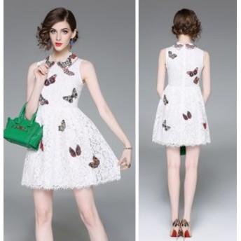 総レース 刺繍 ノースリーブ ショート丈 結婚式 お呼ばれ ドレス 全3色