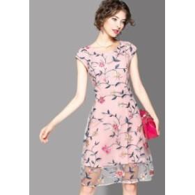 お花 刺繍 スリム 半袖 ショート丈 キュート ワンピース 全2色
