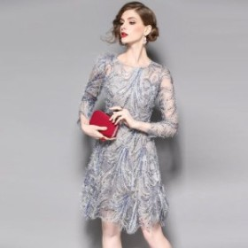 7分袖 スパンコール 刺繍 シースルー 結婚式 パーティー ドレス