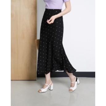 小粒ドットにモノトーンが大人っぽい☆ ドットロングスカート 裾の揺れが愛らしいデザインに 9322