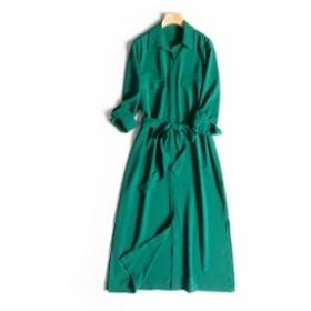 サラッと羽織ってもOK 2wayロングシャツワンピース ストールやネックレスでより華やかに♪ 0515