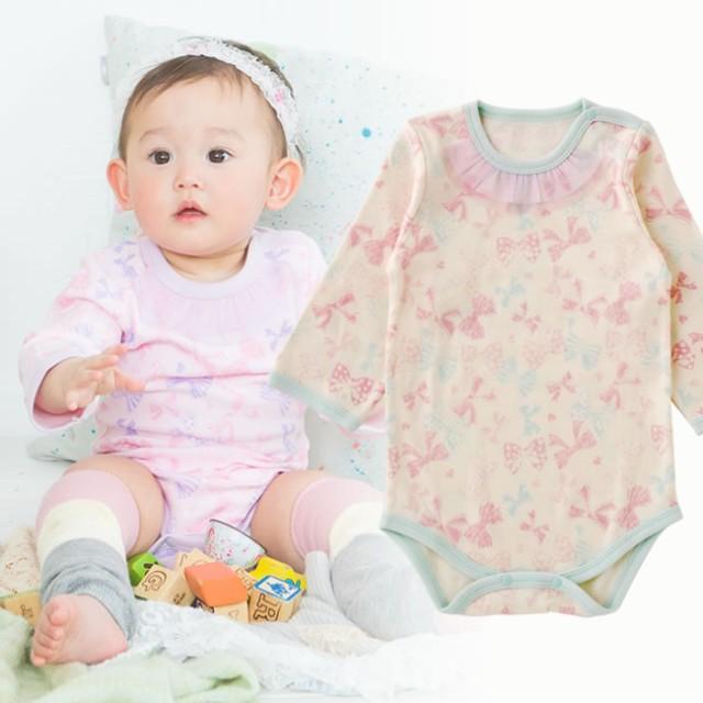9835560fc2a べビーロンパース・カバーオール - chuckleBABY リボンいっぱい長袖かぶりロンパース赤ちゃん 服 ベビー ベビー服