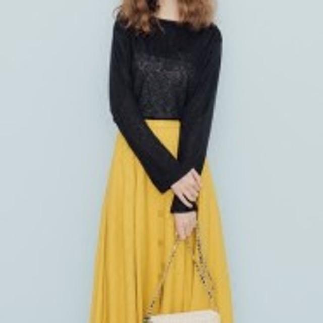 揺れるフレアで可愛さアップ 前ボタンスカート 明るいカラーでコーデも華やかに 0670