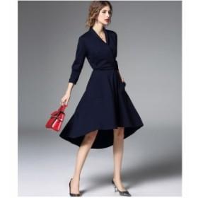 モノカラー カシュクール アシメトリー スリム エレガント ドレス 全2色