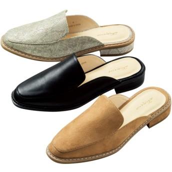 【格安-女性靴】レディーススクエアトゥスリッパサンダル