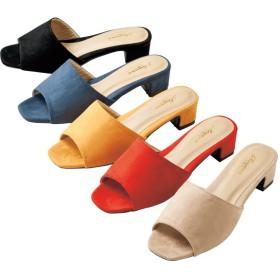 【格安-女性靴】レディーススエード調ローヒールミュールサンダル