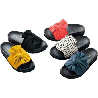 【格安-女性靴】レディースターバンリボン付コンフォートサンダル