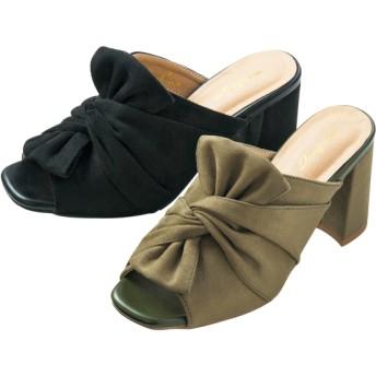 【格安-女性靴】レディースツイストリボンミュールサンダル