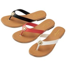 【格安-女性靴】レディースゴールドモチーフ付トングサンダル