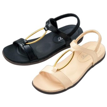 【格安-女性靴】レディースゴールドパーツ付伸縮ゴムタイプサンダル