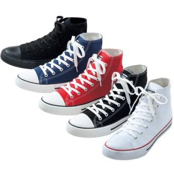 【格安-男性靴】【28%OFF】メンズキャンバス地ハイカットスニーカー