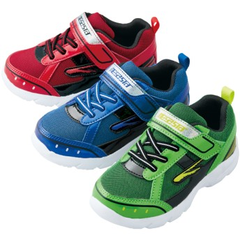 【格安-子供用靴】ボーイズ超軽量キラキラ面ファスナー付スニーカー