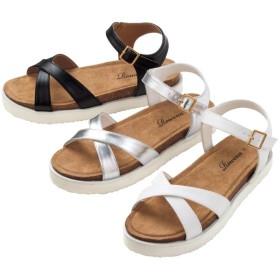 【格安-女性靴】レディースアンクルストラップ付クロスベルトサンダル