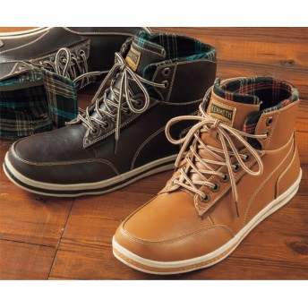 【格安-男性靴】メンズチェック柄ライニングカジュアルシューズ