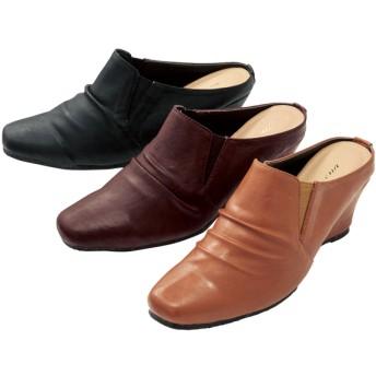 【格安-女性靴】レディースサイドゴアウェッジヒールミュールサンダル