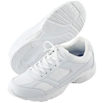 【格安-子供用靴】靴ひもタイプホワイトスポーツシューズ