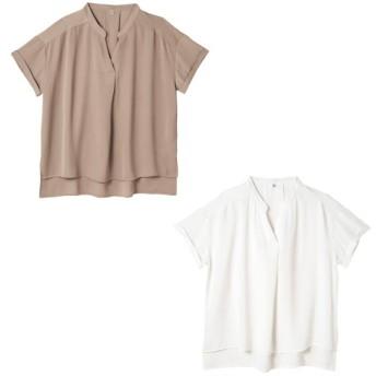 レディースノーカラースキッパーシャツ