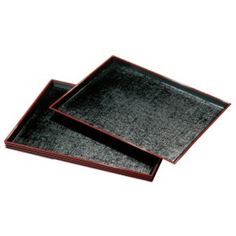 紀州塗り 尺3寸 定食盆 黒 布目 5枚組(ノンスリップ)