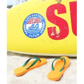 【オンワード】 九十九(ツクモ) 日本製ビーチサンダル オレンジ×グリーン 15 レディース