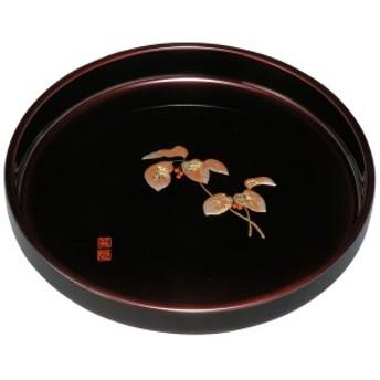 紀州塗り 8寸 丸盆 玉虫 盛絵 やぶこうじ