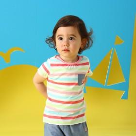 ミキハウス 【アウトレット】ポケット付きカラフルボーダー半袖Tシャツ ピンク