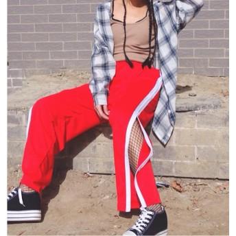 送料無料☆スリット サイドライン ジャージ パンツ ワイド オール ジップアップ ストリート 衣装 ダンス レディース a63☆