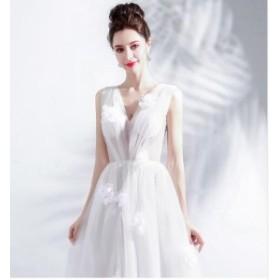 送料無料 人気 秋新作 高品質 ロングドレス ホワイト 舞台ドレス 舞台衣装 可愛いドレス 二次会 ドレス セクシー 演奏会 ドレス