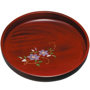 紀州塗り 尺寸 丸盆 黒丹杢盛絵鉄仙