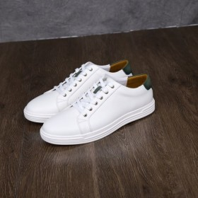 ハラコ革真っ白メンズスニーカー手作り靴