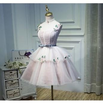 豪華なミディアムドレス ウェディングドレス 二次会 パーティードレス 花嫁 結婚式 披露宴 ボンボンスカート 撮影用