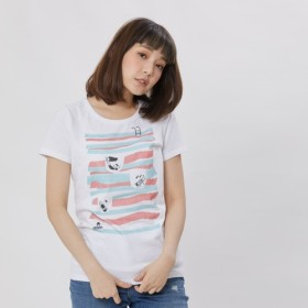 夏場のスイミングプール ピーチ起毛ソフトコットン・半袖・レディースTシャツ、ホワイト ホワイト