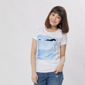 カバ・ ピーチ起毛ソフトコットン・半袖・レディースTシャツ、ホワイト