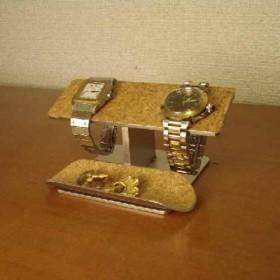 父の日プレゼントに 時計スタンド バーステンレスコルク トレイ付き ak-design N8109