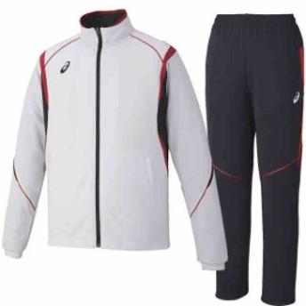 アシックス トレーニングジャケット&ロングパンツ上下セット ホワイト×ブラック×レッド XAT143-0123-XAT243-9023
