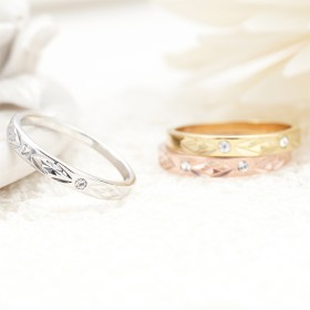リング - アクセサリーショップPIENA ピンキーリング 指輪 小指 日本製 表面加工 ダイヤ柄 ストーンでポイント 3号 5号 シルバー ゴールド ピンクゴールド